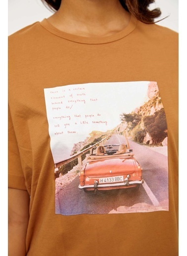 Setre Mor Kısa Kol Baskılı T-Shirt Kahve